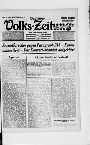 Berliner Volkszeitung vom 13.01.1929