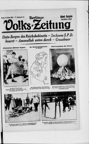 Berliner Volkszeitung vom 14.01.1929