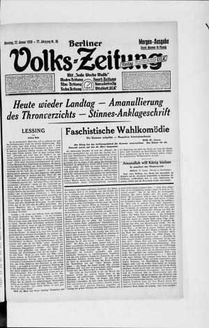 Berliner Volkszeitung vom 22.01.1929