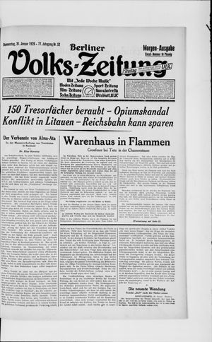 Berliner Volkszeitung vom 31.01.1929