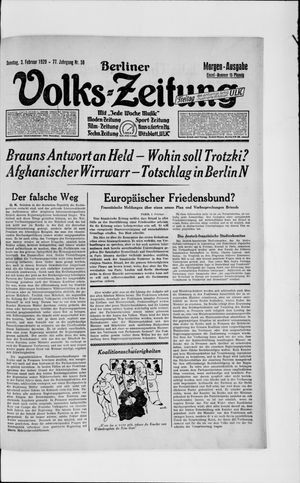 Berliner Volkszeitung vom 03.02.1929