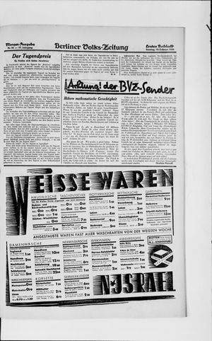 Berliner Volkszeitung vom 10.02.1929