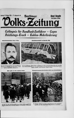 Berliner Volkszeitung vom 19.02.1929
