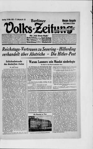 Berliner Volkszeitung vom 19.03.1929