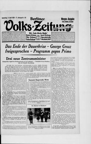 Berliner Volkszeitung vom 11.04.1929