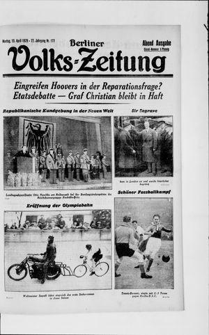 Berliner Volkszeitung vom 15.04.1929