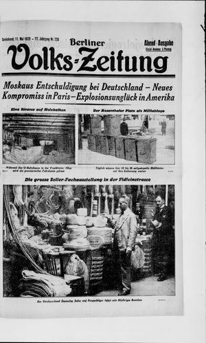 Berliner Volkszeitung vom 11.05.1929