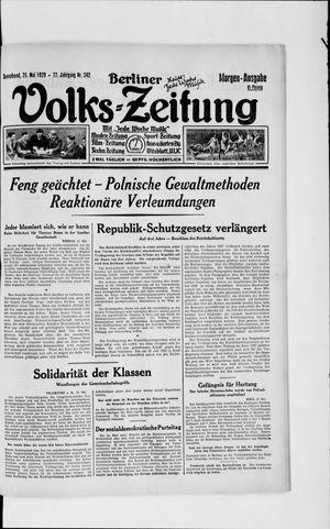 Berliner Volkszeitung vom 25.05.1929