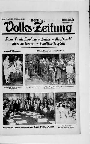 Berliner Volkszeitung vom 10.06.1929