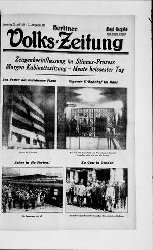 Berliner Volkszeitung vom 20.06.1929