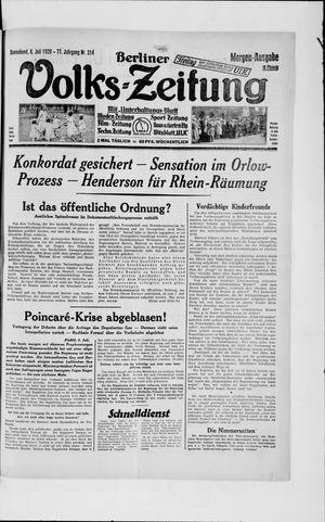 Berliner Volkszeitung vom 06.07.1929