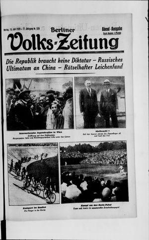 Berliner Volkszeitung vom 15.07.1929