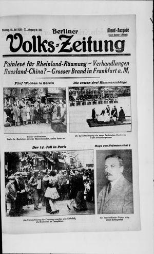 Berliner Volkszeitung vom 16.07.1929