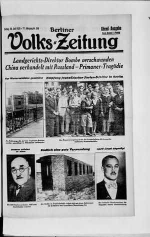 Berliner Volkszeitung vom 26.07.1929