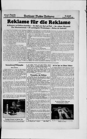 Berliner Volkszeitung vom 09.08.1929