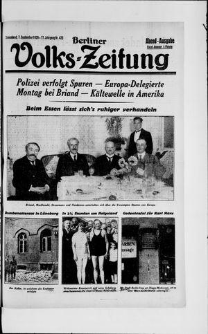 Berliner Volkszeitung vom 07.09.1929