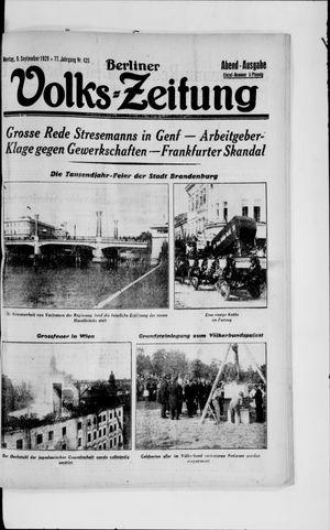 Berliner Volkszeitung vom 09.09.1929