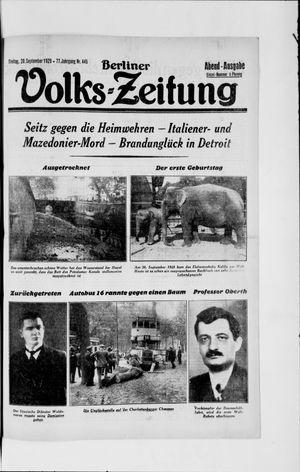 Berliner Volkszeitung vom 20.09.1929