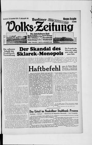 Berliner Volkszeitung vom 28.09.1929