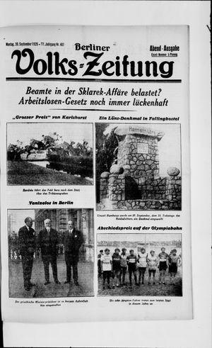 Berliner Volkszeitung vom 30.09.1929