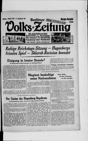 Berliner Volkszeitung vom 01.10.1929
