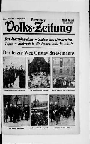 Berliner Volkszeitung vom 07.10.1929