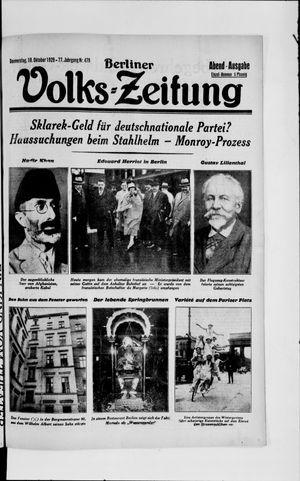 Berliner Volkszeitung vom 10.10.1929