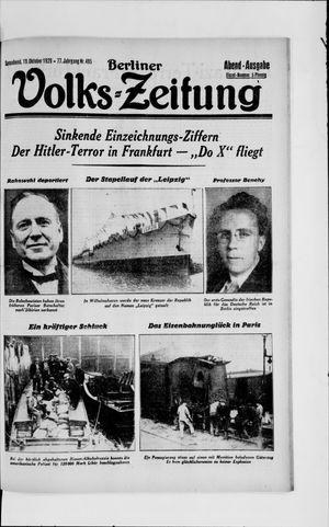 Berliner Volkszeitung vom 19.10.1929