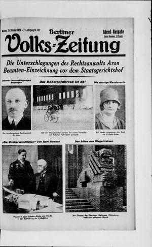 Berliner Volkszeitung vom 21.10.1929