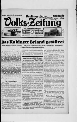 Berliner Volkszeitung vom 23.10.1929