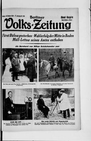 Berliner Volkszeitung vom 28.10.1929