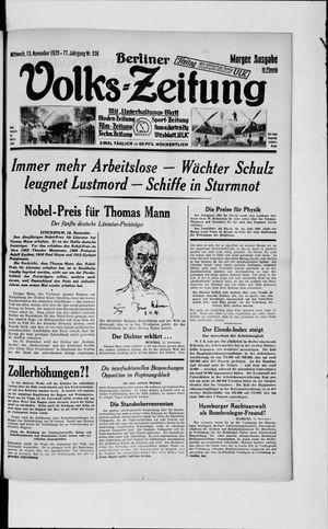 Berliner Volkszeitung vom 13.11.1929