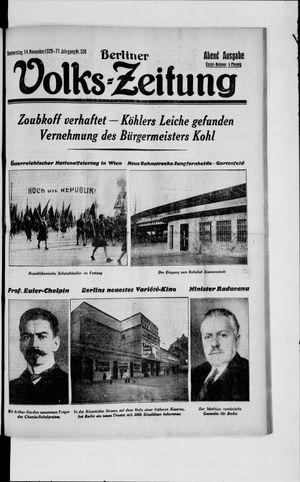 Berliner Volkszeitung vom 14.11.1929