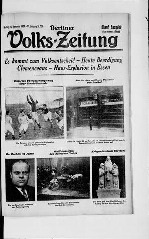 Berliner Volkszeitung vom 25.11.1929