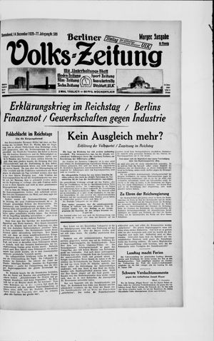 Berliner Volkszeitung vom 14.12.1929
