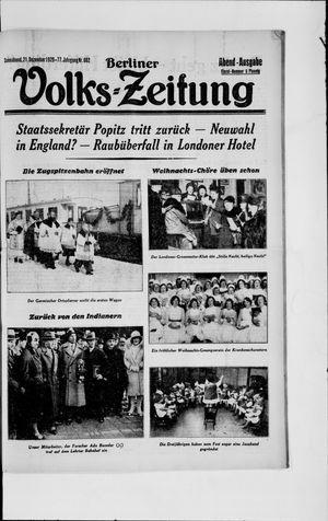 Berliner Volkszeitung vom 21.12.1929