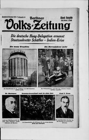 Berliner Volkszeitung vom 28.12.1929