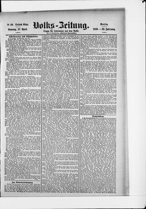 Volks-Zeitung vom 27.04.1890