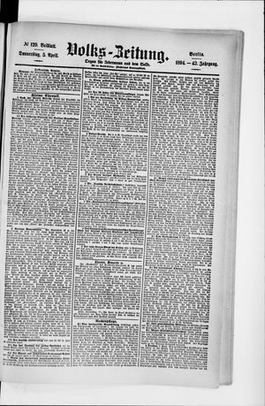 Volks-Zeitung vom 05.04.1894