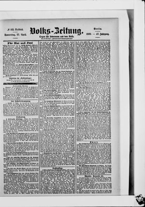 Volks-Zeitung vom 27.04.1899
