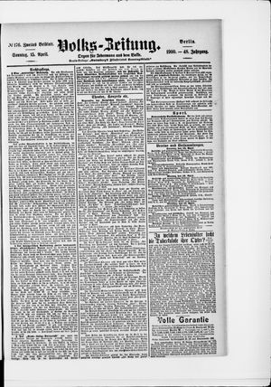 Volks-Zeitung vom 15.04.1900