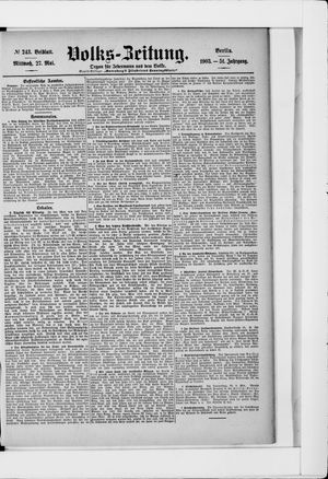 Volks-Zeitung vom 27.05.1903