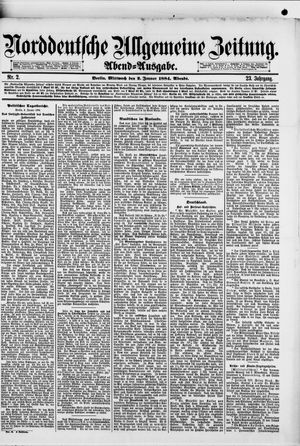 Norddeutsche allgemeine Zeitung vom 02.01.1884