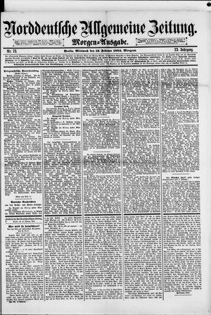 Norddeutsche allgemeine Zeitung vom 13.02.1884
