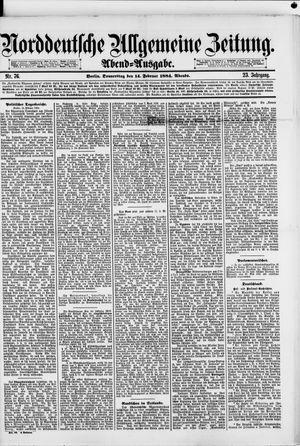 Norddeutsche allgemeine Zeitung vom 14.02.1884