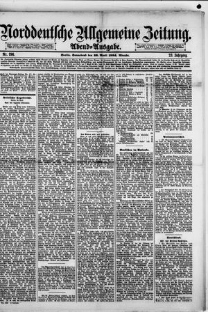 Norddeutsche allgemeine Zeitung vom 26.04.1884