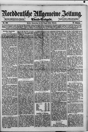 Norddeutsche allgemeine Zeitung vom 21.08.1884