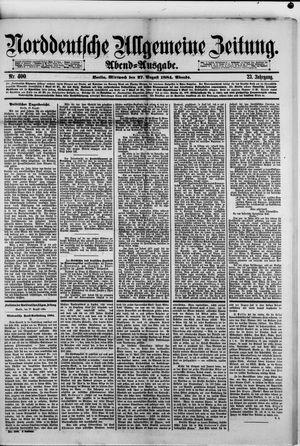 Norddeutsche allgemeine Zeitung vom 27.08.1884