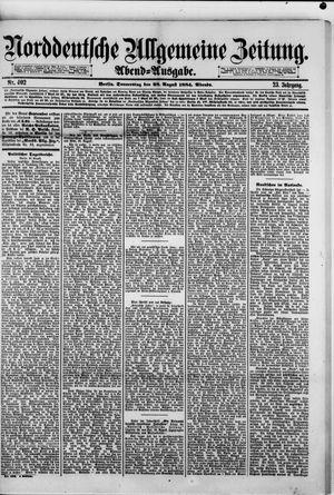 Norddeutsche allgemeine Zeitung vom 28.08.1884