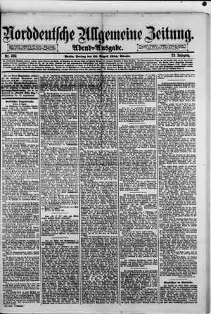 Norddeutsche allgemeine Zeitung vom 29.08.1884